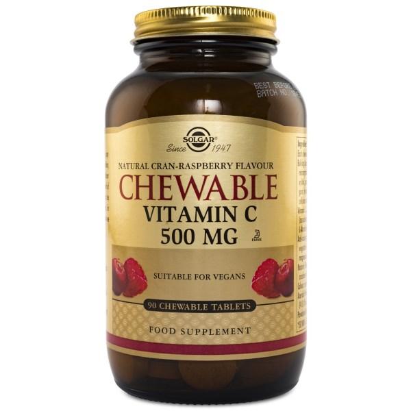 Solgar Chewable Vitamin C Tranbär & Hallon 90 tabl