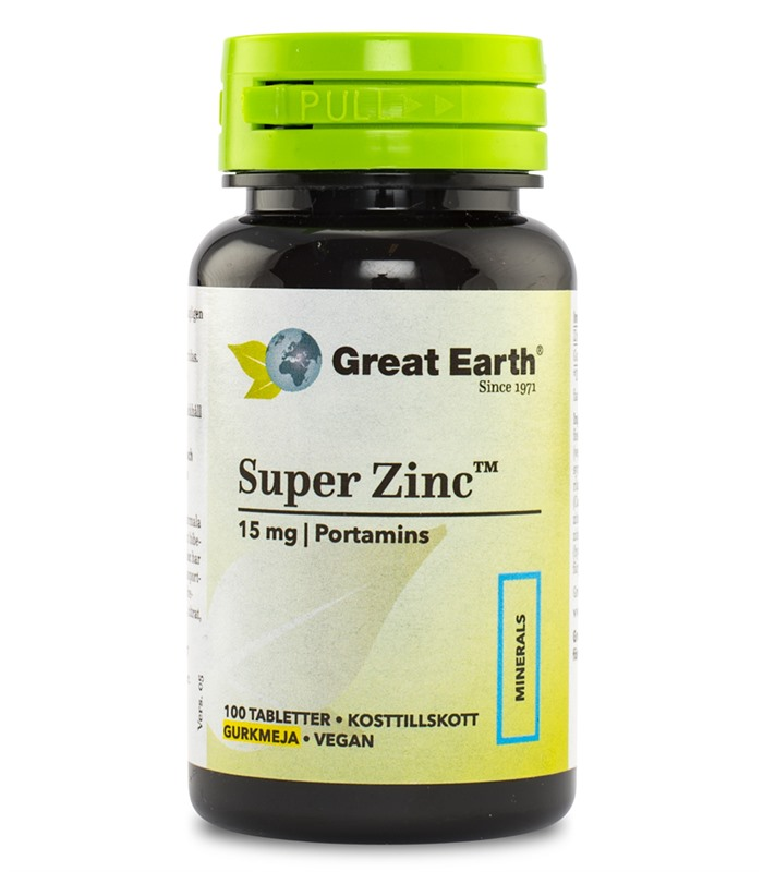 Super Zink 15 mg, Vitaminer och mineraler - Great Earth
